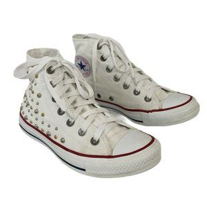 Converse Size 7 Studded White High Top Sneaker